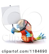 Clipart Of A 3d Macaw Parrot Wearing Glasses And Holding Up A Sign Royalty Free CGI Illustration