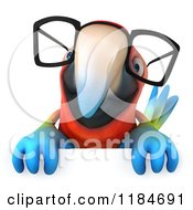 Clipart Of A 3d Macaw Parrot Wearing Glasses And Holding A Sign Royalty Free CGI Illustration