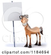 Clipart Of A 3d Happy Horse Wearing Glasses By A Sign Royalty Free CGI Illustration