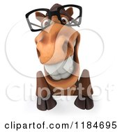 Clipart Of A 3d Happy Horse Wearing Glasses Over A Sign Royalty Free CGI Illustration