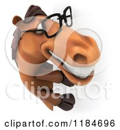 Clipart Of A 3d Happy Horse Wearing Glasses And Looking Around A Sign Royalty Free CGI Illustration