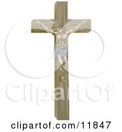 Jesus Nailed On The Crucifix Clipart Illustration by AtStockIllustration