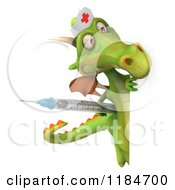Clipart Of A 3d Green Dragon Nurse Holding A Vaccine Syringe Around A Sign Royalty Free CGI Illustration