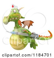 Clipart Of A 3d Green Dragon Nurse Flying With A Vaccine Syringe Royalty Free CGI Illustration