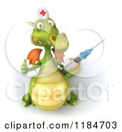 Clipart Of A 3d Green Dragon Nurse Holding A Vaccine Syringe And A Thumb Up Royalty Free CGI Illustration