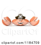 Clipart Of A 3d Happy Pirate Crab Royalty Free CGI Illustration