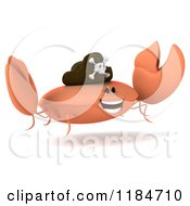 Clipart Of A 3d Jumping Pirate Crab Royalty Free CGI Illustration