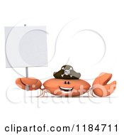 Clipart Of A 3d Happy Pirate Crab Holding A Sign Royalty Free CGI Illustration