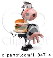 Clipart Of A 3d Cow Serving A Double Burger On A Platter Royalty Free CGI Illustration