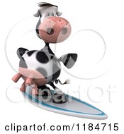 Clipart Of A 3d Cow Surfing 5 Royalty Free CGI Illustration