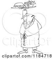 Cartoon Of An Outlined Male Waiter Serving A Gourmet Cheeseburger And Fries Royalty Free Vector Clipart by djart