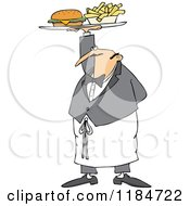Cartoon Of A Male Waiter Serving A Gourmet Cheeseburger And Fries Royalty Free Vector Clipart