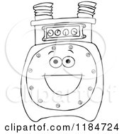 Cartoon Of An Outlined Gas Meter Mascot Royalty Free Vector Clipart by djart