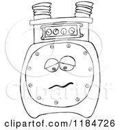 Cartoon Of An Outlined Sad Gas Meter Mascot Royalty Free Vector Clipart by djart