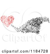 Clipart Of A Black And White Swarm And Red Heart Made Of Music Notes Royalty Free Vector Illustration