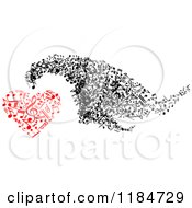 Clipart Of A Black And White Swarm And Red Heart Made Of Music Notes 2 Royalty Free Vector Illustration