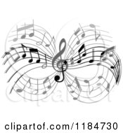 Clipart Of A Grayscale Design Of Music Notes Royalty Free Vector Illustration by Vector Tradition SM