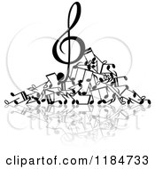 Clipart Of A Black And White Pile Of Music Notes Royalty Free Vector Illustration