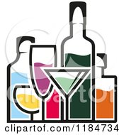 Clipart Of Bottles Of Alcohol And Glasses 2 Royalty Free Vector Illustration