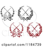 Clipart Of Heraldic Grayscale And Red Laurel Wreaths Around Crossed Swords Royalty Free Vector Illustration