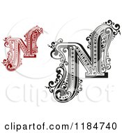 Clipart Of Vintage Letter N In Red And Black And White Royalty Free Vector Illustration