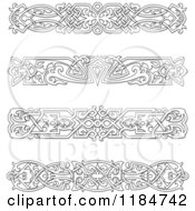 Clipart Of Vintage Black And White Victorian Rule Borders 2 Royalty Free Vector Illustration