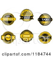 Clipart Of Yellow And Black Taxi Labels Royalty Free Vector Illustration by Vector Tradition SM