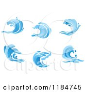 Clipart Of Blue Surf Ocean Waves 2 Royalty Free Vector Illustration