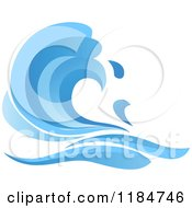Clipart Of A Blue Surf Ocean Wave 12 Royalty Free Vector Illustration