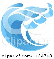 Clipart Of A Blue Surf Ocean Wave 11 Royalty Free Vector Illustration