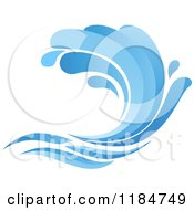 Clipart Of A Blue Surf Ocean Wave 9 Royalty Free Vector Illustration