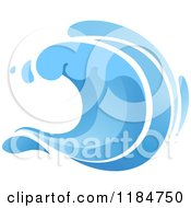 Clipart Of A Blue Surf Ocean Wave 8 Royalty Free Vector Illustration