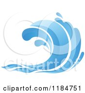 Clipart Of A Blue Surf Ocean Wave 7 Royalty Free Vector Illustration