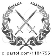 Clipart Of A Heraldic Grayscale Laurel Wreath Around Crossed Swords 2 Royalty Free Vector Illustration