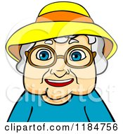 Clipart Of A Happy Old Woman With Glasses And A Hat Royalty Free Vector Illustration