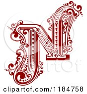 Clipart Of A Vintage Letter N In Red Royalty Free Vector Illustration