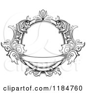 Clipart Of A Vintage Ornate Oval Frame With Leaves And A Banner Royalty Free Vector Illustration