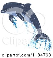 Clipart Of A Leaping Dolphin With Water Droplets Royalty Free Vector Illustration by Vector Tradition SM