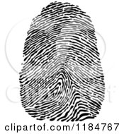 Clipart Of A Black And White Finger Thumb Print Royalty Free Vector Illustration
