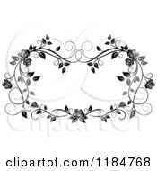 Clipart Of A Black And White Ornate Rose Frame Royalty Free Vector Illustration