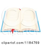 Cartoon Of A Book With Open Blank Ruled Pages And A Ribbon Marker Royalty Free Vector Clipart