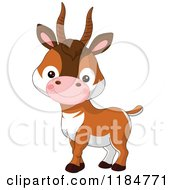 Cartoon Of A Cute Baby Antelope Smiling Royalty Free Vector Clipart