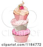 Cartoon Of A Tower Of Three Cupcakes Topped With A Strawberry Royalty Free Vector Clipart by Pushkin