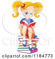 Cartoon Of A Blond School Girl With Pig Tails Reading On A Stack Of Books Royalty Free Vector Clipart