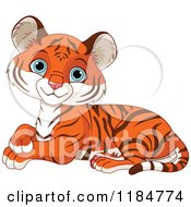 Cartoon Of A Cute Tiger Cub Resting And Smiling Royalty Free Vector Clipart by Pushkin