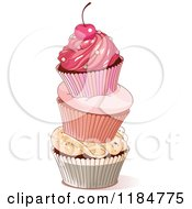 Cartoon Of A Tower Of Three Cupcakes Topped With A Cherry Royalty Free Vector Clipart by Pushkin