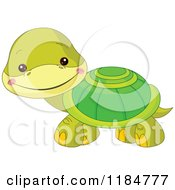 Cartoon Of A Cute Baby Turtle Smiling Royalty Free Vector Clipart