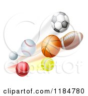 Cartoon Of Athletic Sports Balls Flying Royalty Free Vector Clipart by AtStockIllustration