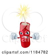 Cartoon Of A Furious Lit Dynamite Mascot With Fists Royalty Free Vector Clipart by AtStockIllustration