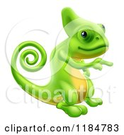 Cartoon Of A Green Chameleon Lizard Pointing Royalty Free Vector Clipart by AtStockIllustration